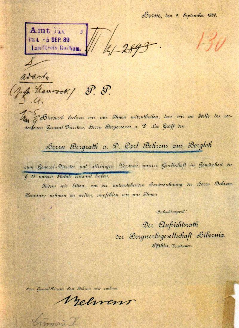Mitteilung über Ernennung von Behrens zum Generaldirektor und alleinigen Vorstand der Bergwerksgesellschaft Hibernia, 02.09.1889, Foto Stadtarchiv Herne