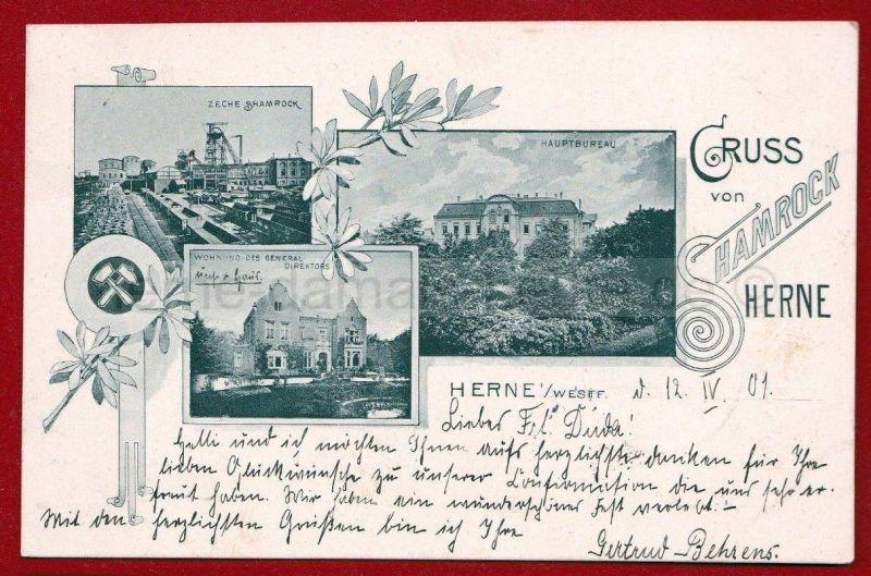 Postkarte von Gertrud Behrens vom 12.06.1901 mit Verweis auf das Wohnhaus der Familie, Repro Stadtarchiv Herne