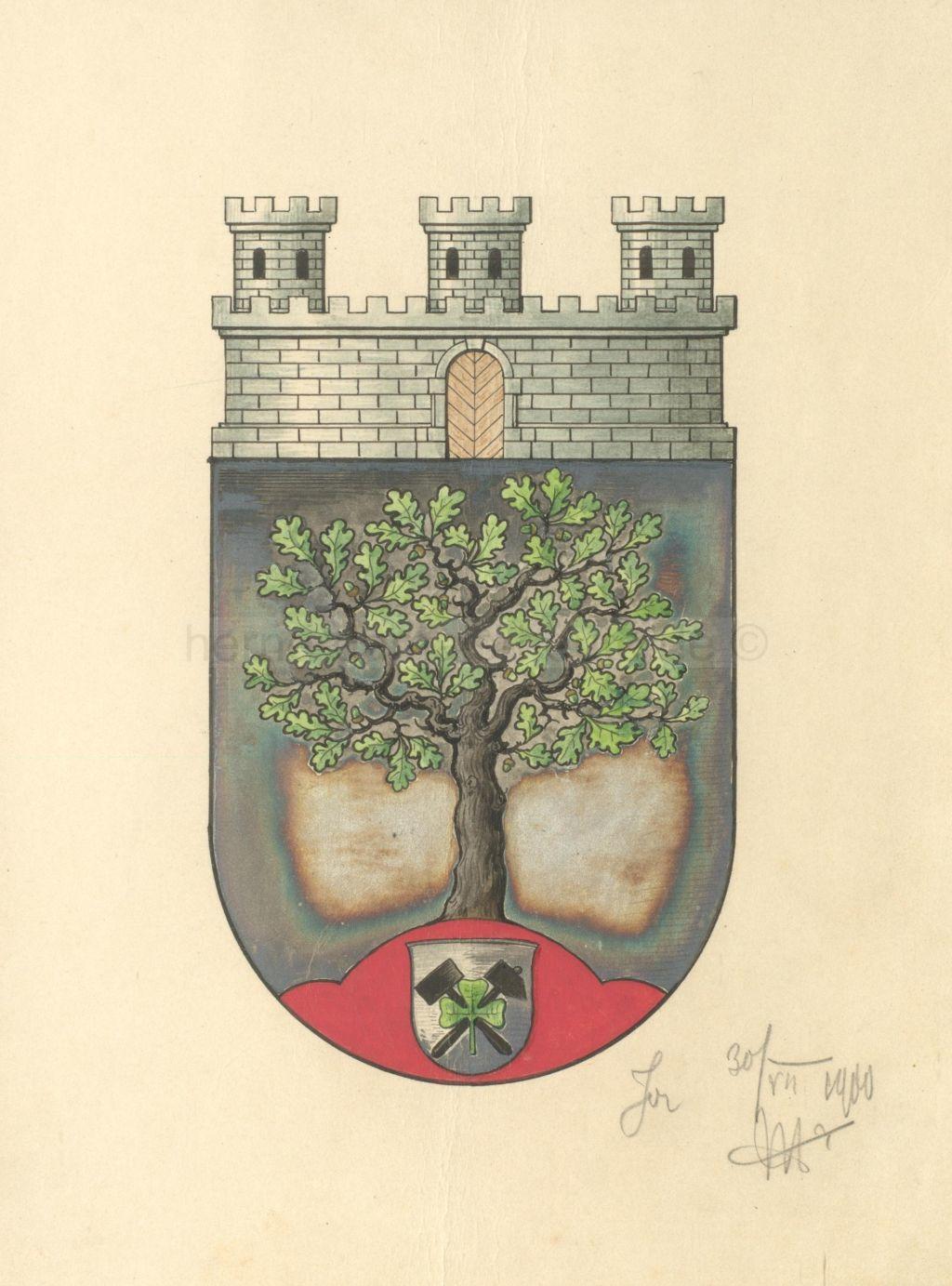 Wappen der Stadt Herne vom 30. Juli 1900 bis 30. November 1937. Neben Schlägel und Eisen ist auch das dreiblättrige Kleeblatt, das Nationalsymbol Irlands, eingearbeitet. Repro Stadtarchiv Herne