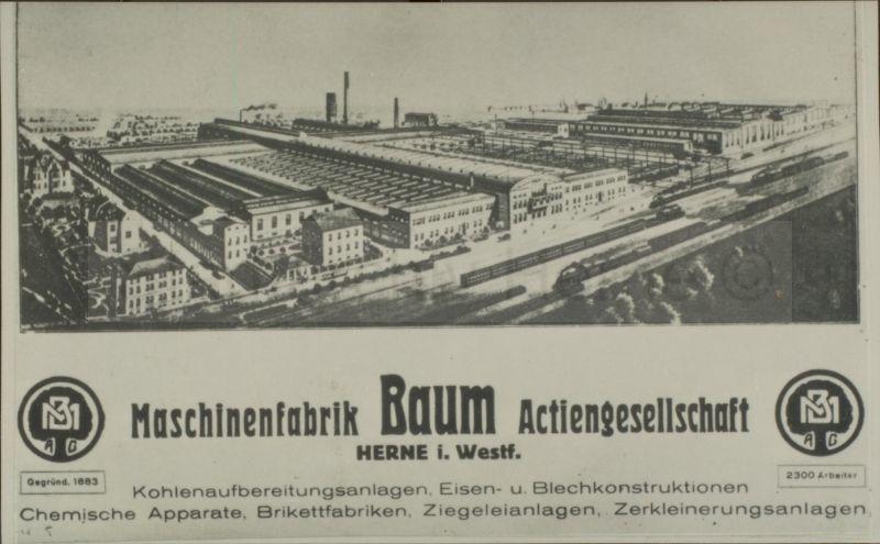 Werbeanzeige der Maschinenfabrik Baum AG, um 1920, Repro Stadtarchiv Herne