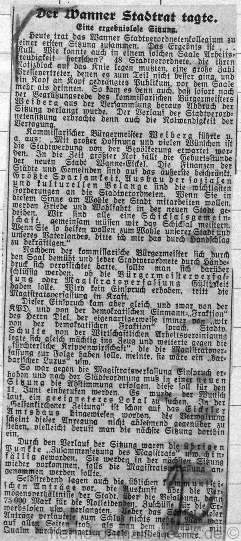 Gelsenkirchener Zeitung vom 02. Juni 1926, Repro Stadtarchiv Herne