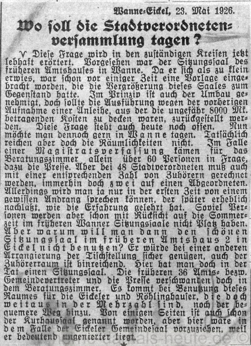 Gelsenkirchener Zeitung vom 22.05.1926, Repro Stadtarchiv Herne