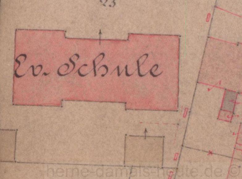 Karte aus dem Jahr 1877 mit eingezeichneter Ev. Schule, die Grundform ist bis heute unverändert, Repro Stadtarchiv Herne