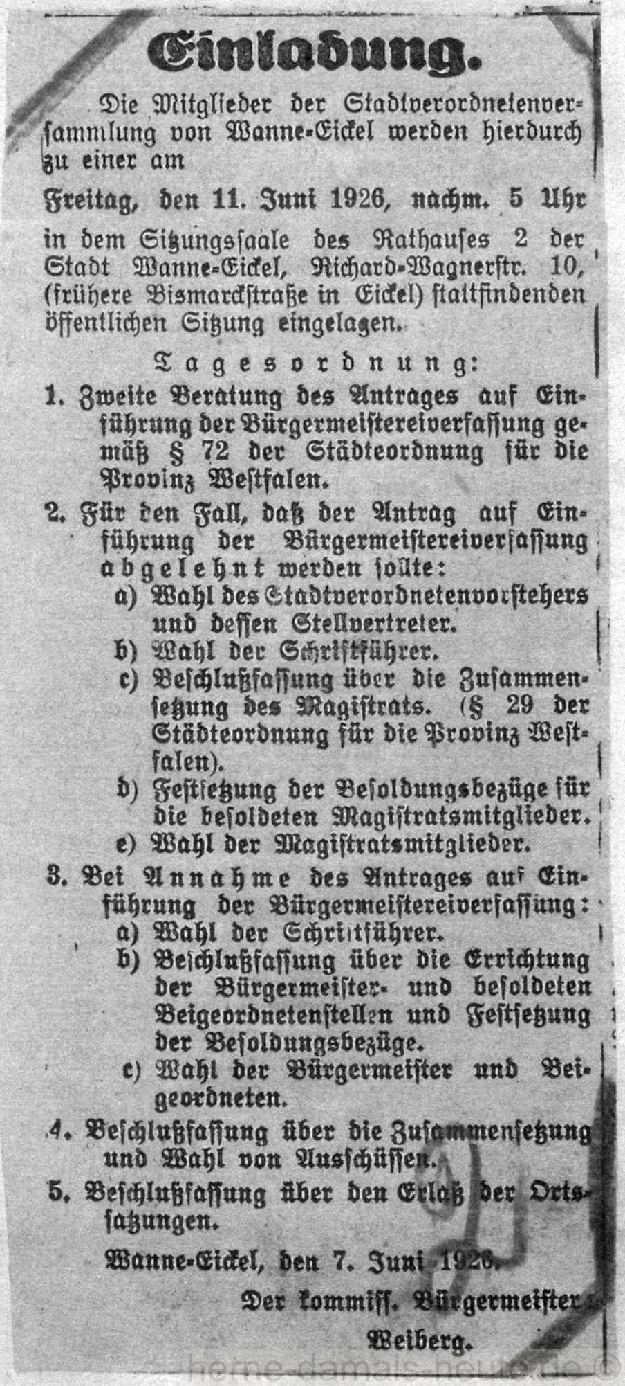 Lokal-Anzeiger vom 08. Juni 1926, Repro Stadtarchiv Herne