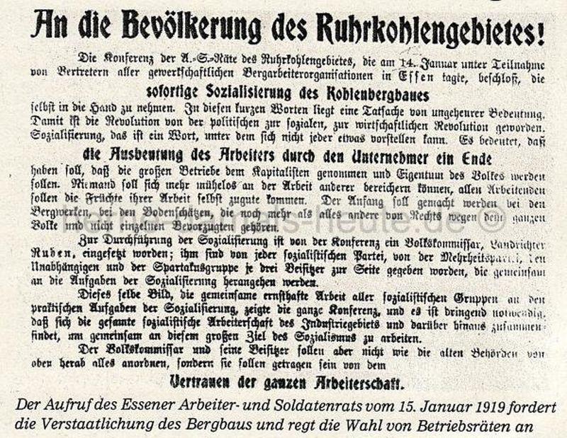 Aufruf des Essener Arbeiter- und Soldatenrates, 15.01.1919, Repro Norbert Kozicki