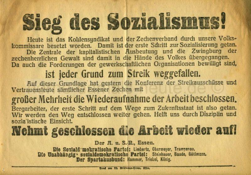 Aufruf des Essener Arbeiter- und Soldatenrates zur Wiederaufnahme der Arbeit, Repro Norbert Kozicki