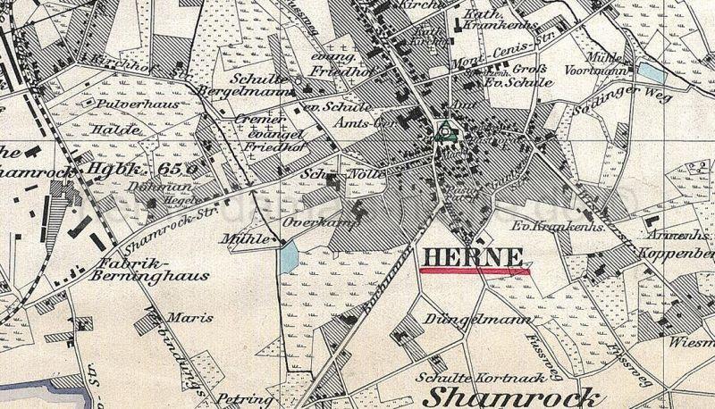 Ausschnitt aus der Übersichtskarte des Landkreises Bochum, 1888, Repro Gerd Biedermann