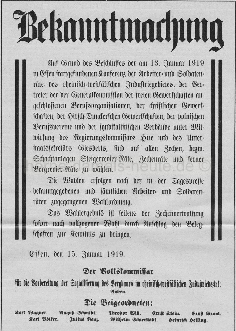 Bekanntmachung zur Rätewahl, Essen, 15.01.1919, Repro Norbert Kozic