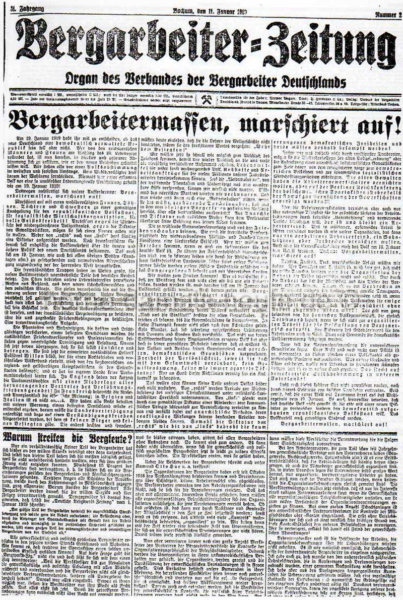 Bergarbeiter-Zeitung vom 11.01.1919, Repro Norbert Kozicki