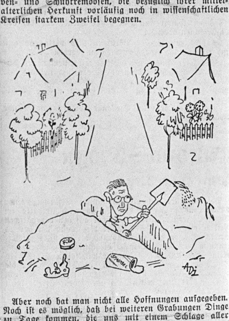 Der Archäologe Karl Brandt, Karikatur, 1930er Jahre, Repro Robert Grabski