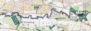 Der Gahlensche Kohlenweg zwischen Haus Crange und Haus Grimberg, Auszug aus der 'Preußische Kartenaufnahme', aufgenommen und aufgezeichnet im Jahr 1842, Blatt 5, Repro Stadtarchiv Herne