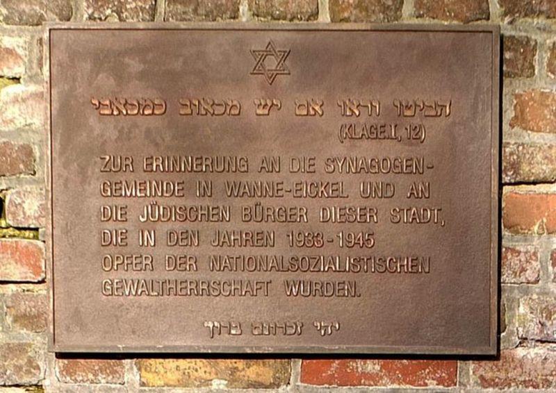 Gedenktafel für die jüdische Gemeinde am historischen Standort der Wanne-Eickeler Synagoge an der Langekampstraße, 2014, Foto Bildarchiv Herne