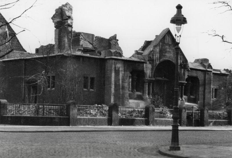 In der Reichspogromnacht zerstörte Herner Synagoge, Foto Stadtarchiv Herne