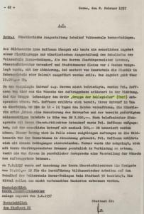 Aktenvermerk der Stadt Herne vom 08.02.1957 zur Plastik 'Gruppe der Ballspieler', Repro Stadtarchiv Herne
