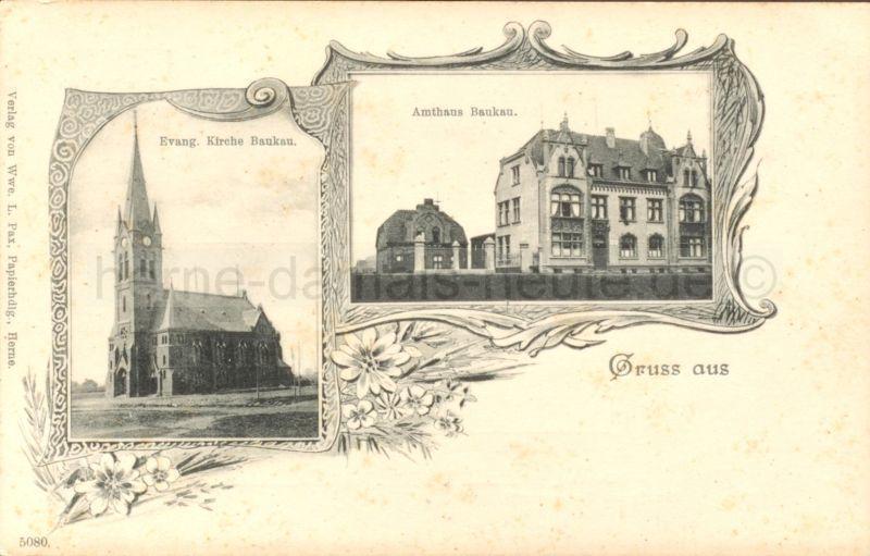 Amtshaus Baukau, Sergeantenhaus, ev. Kirche, Postkarte, Anfang 1900, Repro Stadtarchiv Herne