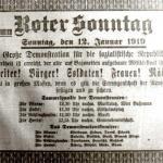 Aufruf zur Demonstration am 12. Januar 1919, Repro Norbert Kozicki