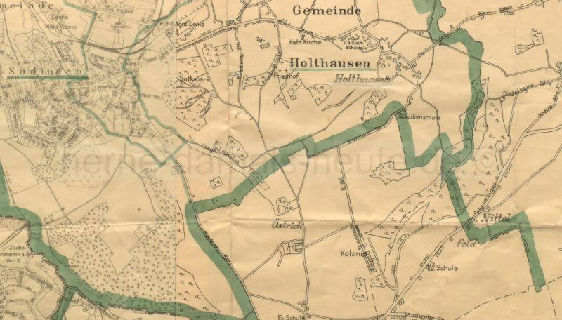 Ausschnitt aus der Karte des Amtes Sodingen, Anfang 1928, Repro Stadtarchiv Herne
