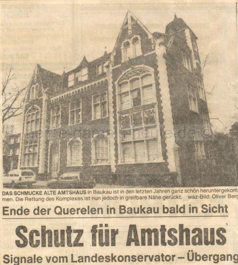 Rettung für das Baukauer Amtshaus? WAZ vom 22.02.1989, Repro Stadtarchiv Herne