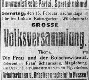 'Die Frau und der Bolschewismus', Einladung zur öffentlichen Volksversammlung am 15. Februar 1919, Repro Norbert Kozicki