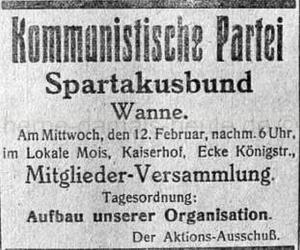 Einladung der Kommunistischen Partei zur Mitgliederversammlung am 12. Februar 1919, Repro Norbert Kozicki