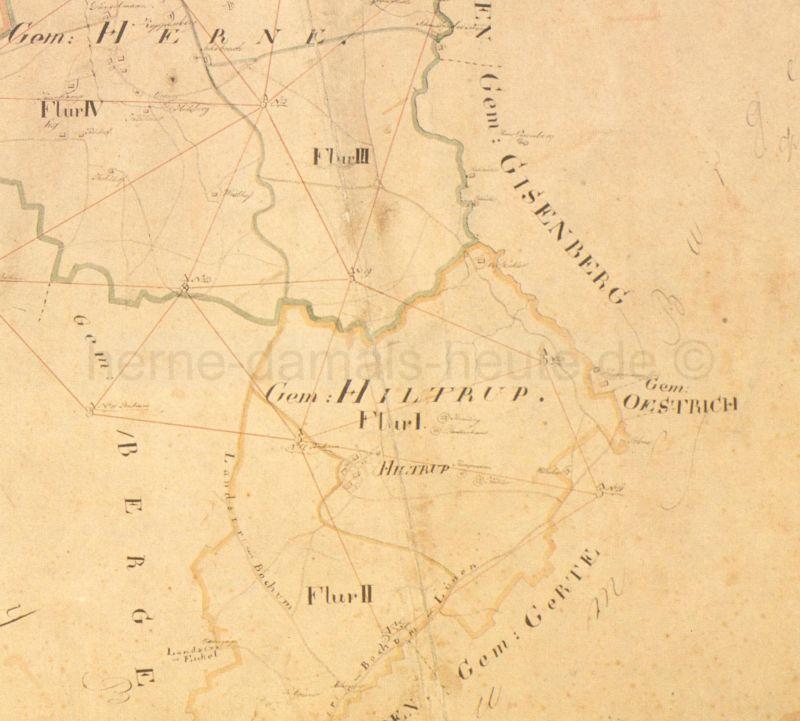 Gemeinde Hiltrop, Ausschnitt aus der Karte Bürgermeisterei Herne, 1823, Foto Stadtarchiv Herne