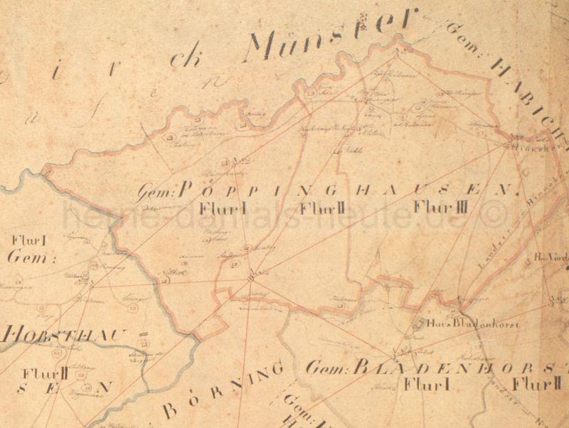 Gemeinde Pöppinghausen, Ausschnitt aus der Karte Burgemeistery Herne, 1823, Foto Stadtarchiv Herne