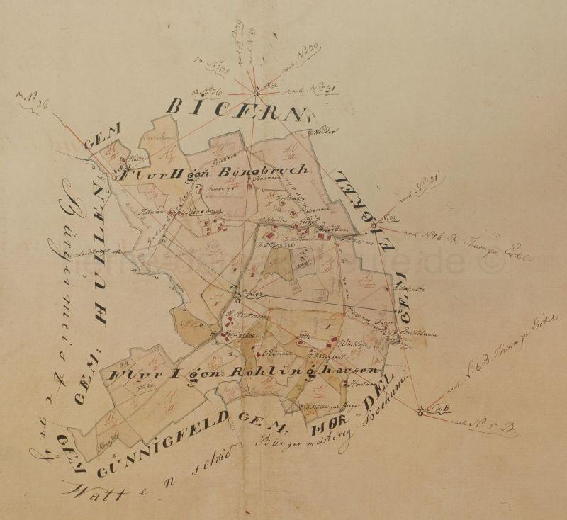 Karte der Gemarkung Röhlinghausen, Anfang 1800, Repro Stadtarchiv Herne