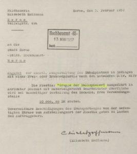 Plastik 'Gruppe der Ballspieler', Angebot der Künstlerin Elisabeth Hoffmann vom 03.02.1957, Repro Stadtarchiv Herne