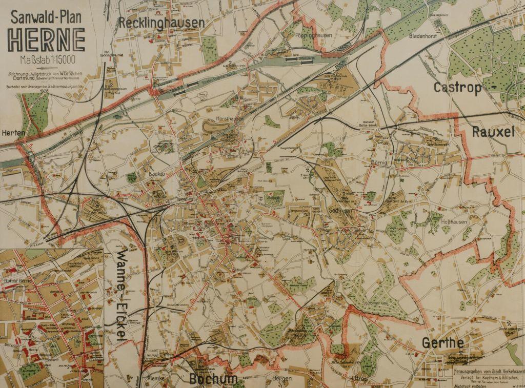 Stadtplan Herne, 1928, Repro Stadtarchiv Herne