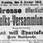 'Was will Spartakus', Einladung zur öffentlichen Volksversammlung am 05. Januar 1919, Repro Norbert Kozicki