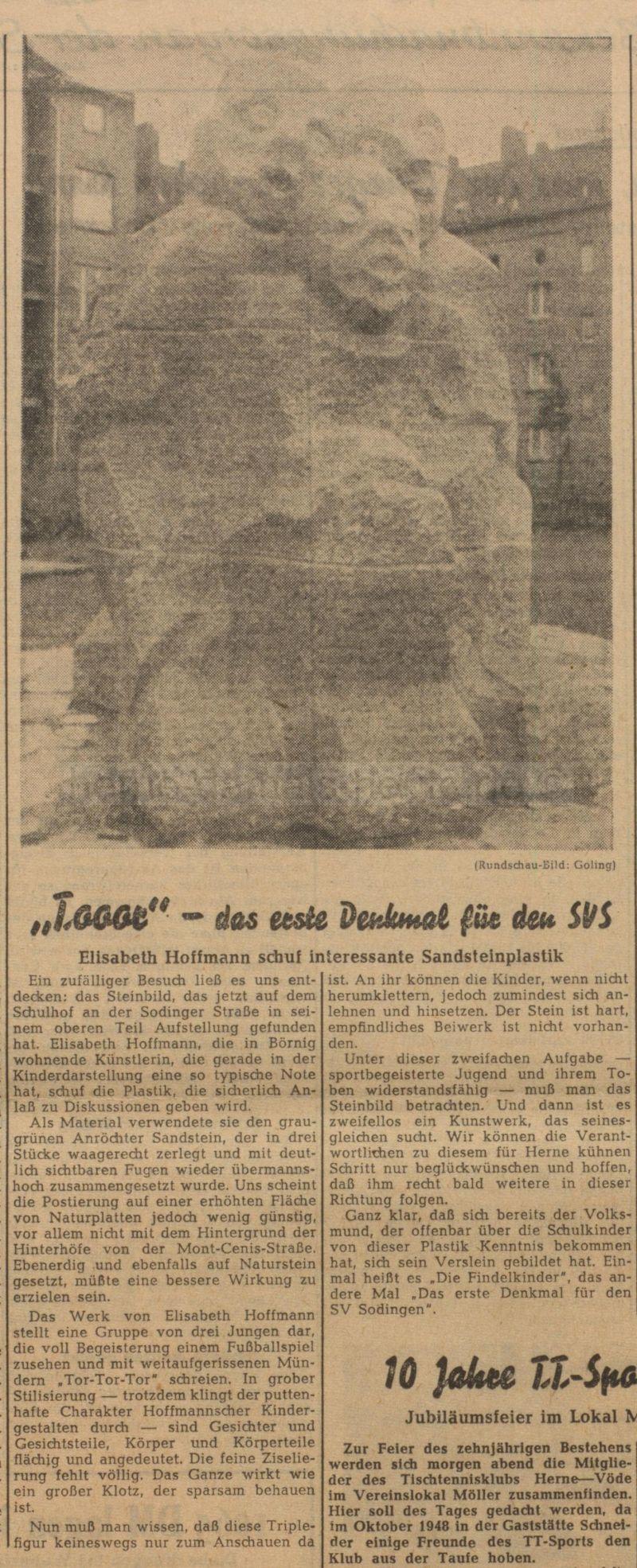 Westfälische Rundschau, Ausgabe Herne vom 03.10.1958, Repro Stadtarchiv Herne