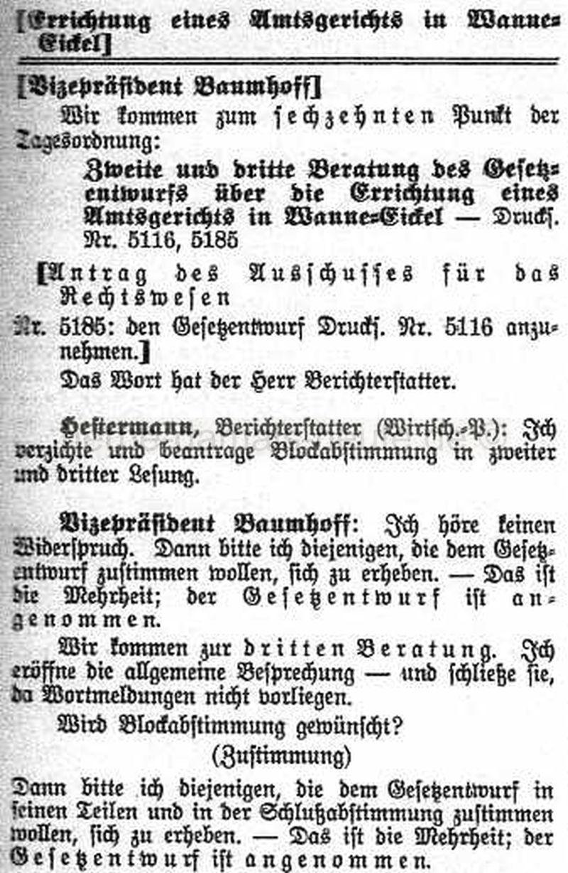 Beratung über ein Gesetz zur Errichtung eines Amtsgerichts in Wanne-Eickel, Repro Norbert Kozicki