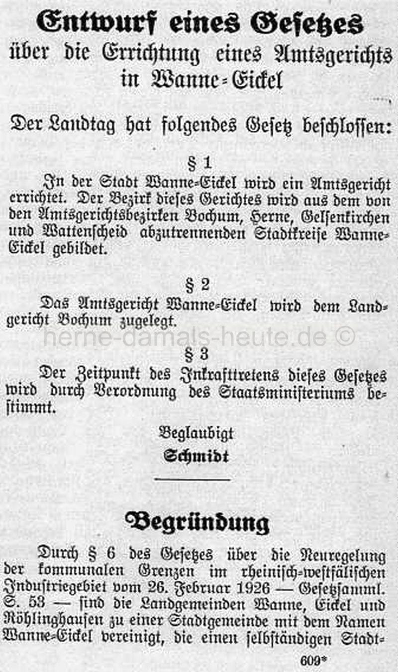 Beschluss eines Gesetzes über die Errichtung eines Amtsgerichts in Wanne-Eickel, Repro Norbert Kozicki