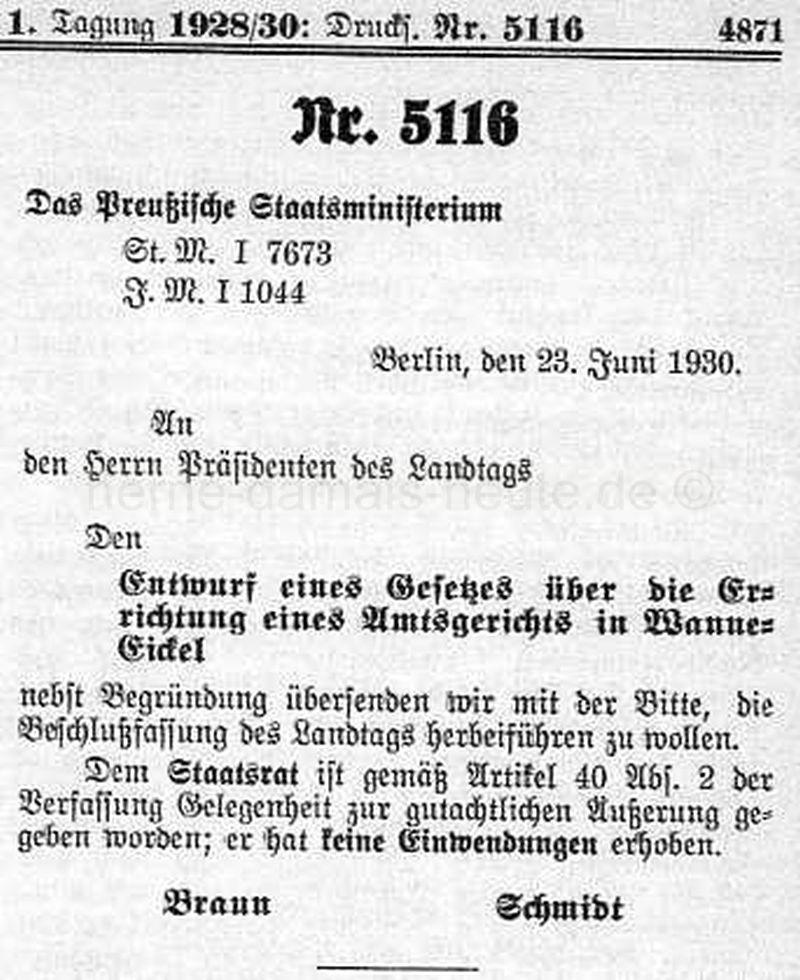 Entwurf eines Gesetzes über die Errichtung eines Amtsgerichts in Wanne-Eickel, Repro Norbert Kozicki